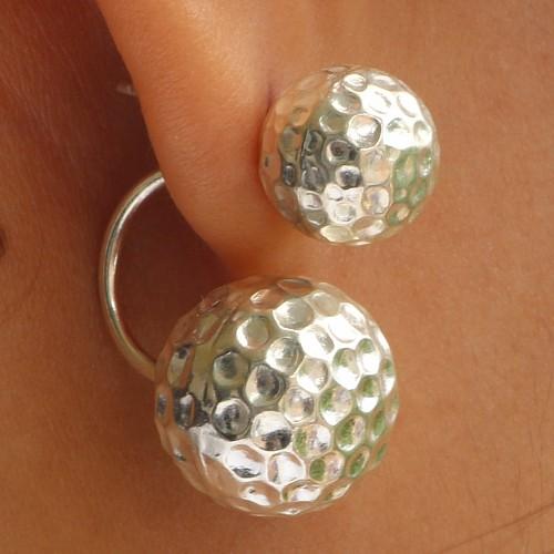 925 Silver Big Earring Balls Design Big Ball 14x14 mm Small 10x10 mm