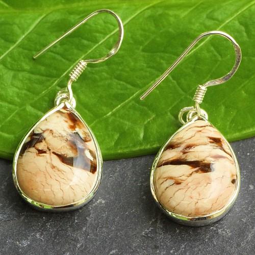 Versteinertes Holz Erdnuss 925 Silber Ohrringe Tropfen 34x13 mm