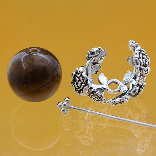 Bead Caps Rosen 925 Silber 12x15 mm