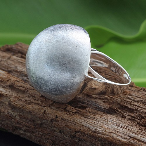 Silver Ring ball 26x41mm size 59 sterlingsilver 925 Mushroom