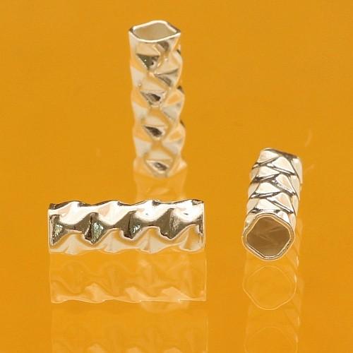 Silber Perle Röhrchen 0.8x0.3mm Silberperlen .925 gehämmerte lange Perlen.