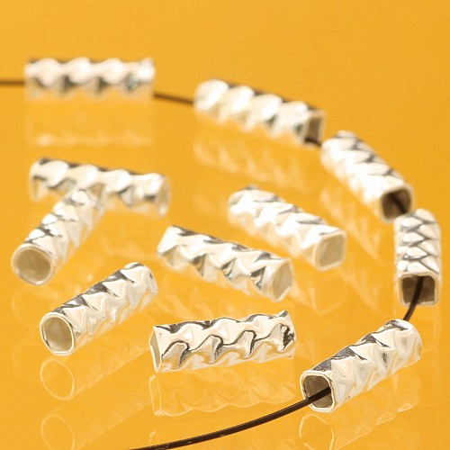 Silber Perle Röhrchen 3x0.8mm Silberperlen .925 gehämmerte lange Perlen.