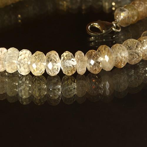 Gold Topas  Halskette Facettiert Button 8 mm Läng 45 cm