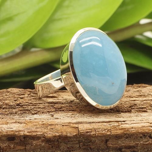 Aquamarin Ring Silber 925 24x32mm Grosse 54