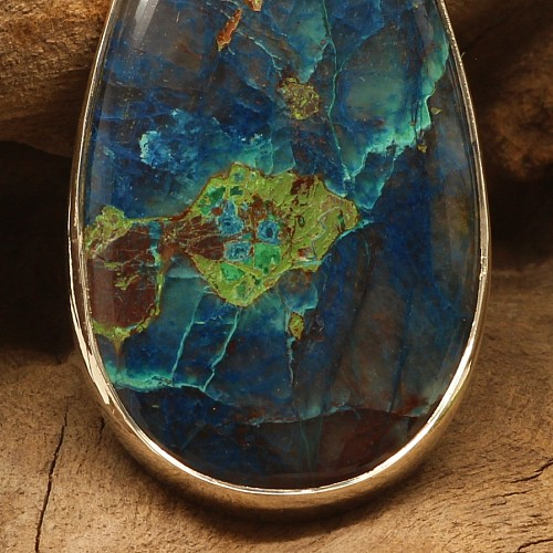 Lazurite Pendant with Silver Silver 925 25x65mm