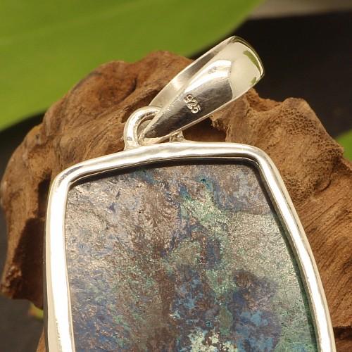 Chrysokoll Edelsteine Anhänger Picasso Silber 925 21X53mm