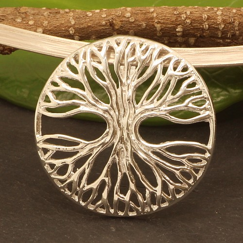Tree of Life silver pendant symmetry