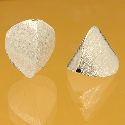 Silver Triangle Beads Brushed Sterling Silver 925 8x17mm
