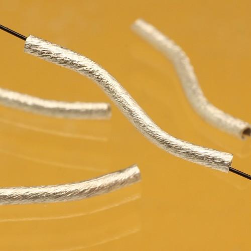 Silberperle Röhrchen geschwungen S Form Silber925 25x2mm
