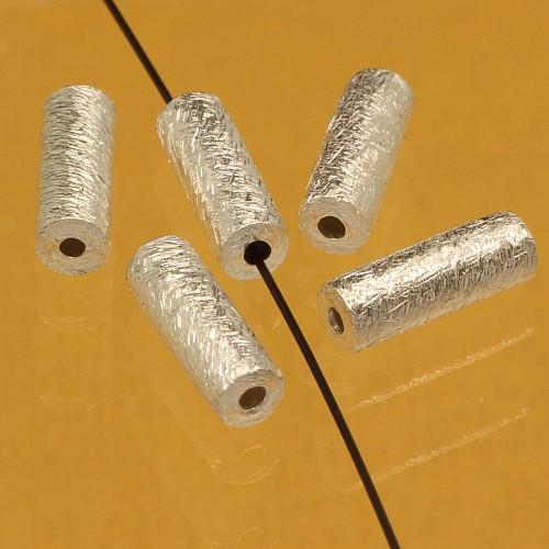 Silber Längsperle gebürstet 10X4mm lange Perle 925