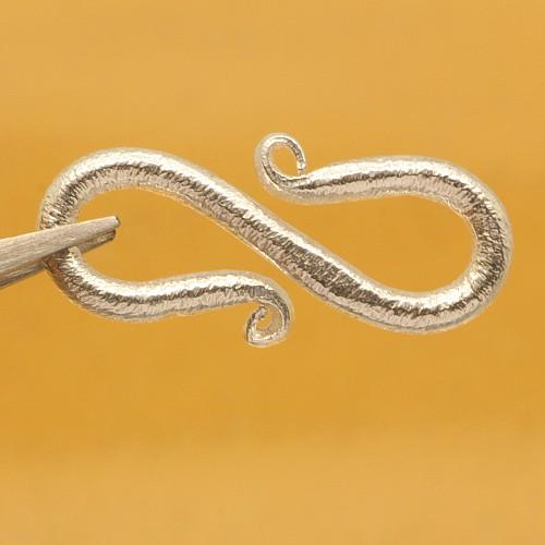 Silberschmuck S-Haken Verschluss Silber gebürstet 15x9mm