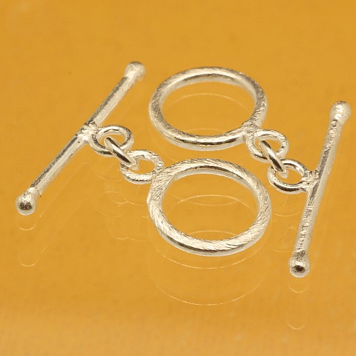 Sterling Silver 925 Hook Brushed 13mm Ring, 24mm Rod