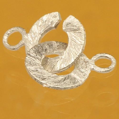 Ring-Ring Verschluss matt gebürstet 10mm Silber 925