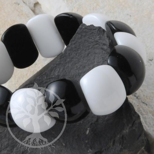 Armband schwarz weiß  Aragonit mit Obsidian Beatle 22x17