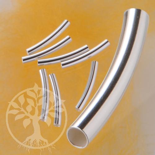Silber Röhrchen gebogen 22x2.1mm lang Silberperle 925