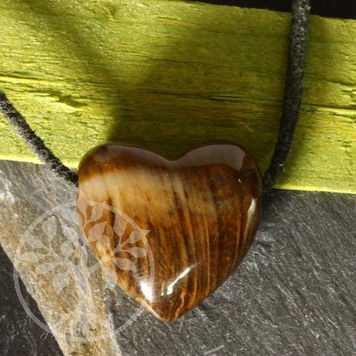 Versteinertes Holz Stein Herz Anhänger 20x20x10 mm