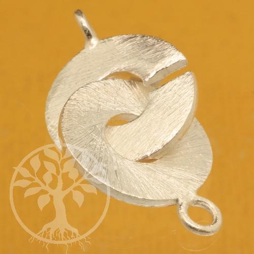 Ring-Ring Verschluss matt gebürstet 18mm Silber925 Schliesse