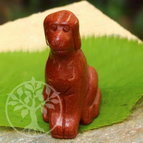 Hund Steingravur Goldfluss synth. 45mm Edelstein Hundefigur