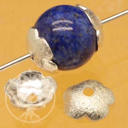 Perlkappen Blume, strukturiert Silber 925 8mm
