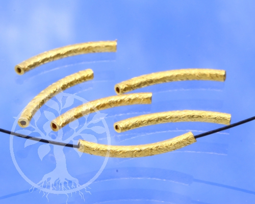 Gold Röhrchen Perle gebogen 15mm lang Silber 925 vergoldet gebürstet