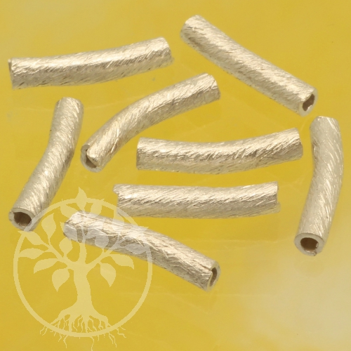 Silver Tubes Beads Curved Silver 925 10x2mm