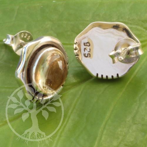 Citrin Oval Ohrstecker Silber 925 10x13mm Zitrinstecker