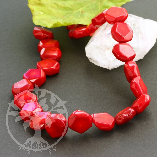 Coral Beads Jewelry Disc Candied Apple  39/40cm
