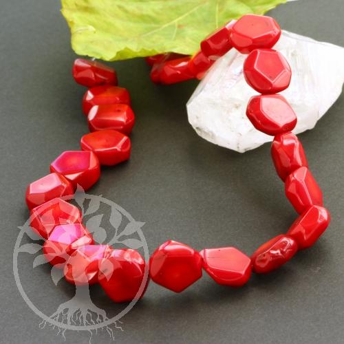 Koralle Schmuckperlen Kandierte Apfelscheiben 39/40cm Perlen