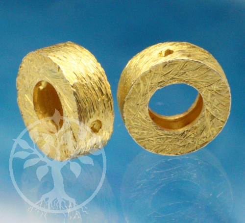 Silver Beads Brushed Gold 925 8mm