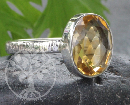Citrine Oval Ring Sterlingsilver 925 Size 59
