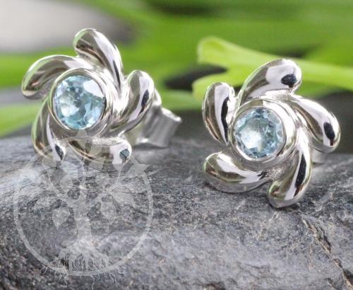 Blue Topaz Ohrstecker Sterling Silber 925 9X15mm