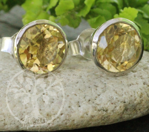 Citrine Circle Stud Earrings Sterling Silver 925 facetted 9x17mm