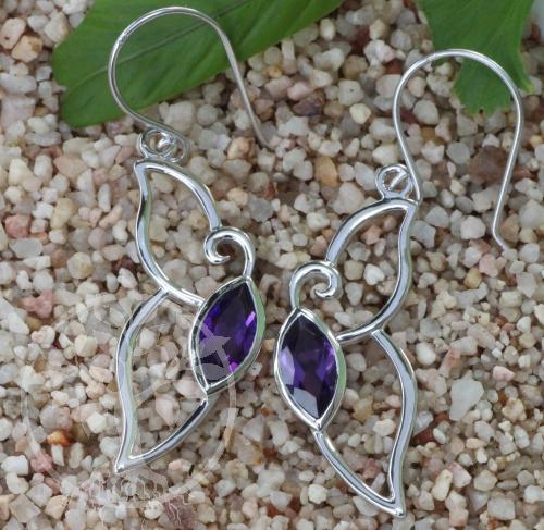 Amethyste Earrings Faceted Sterlingsilver 925 12x45mm