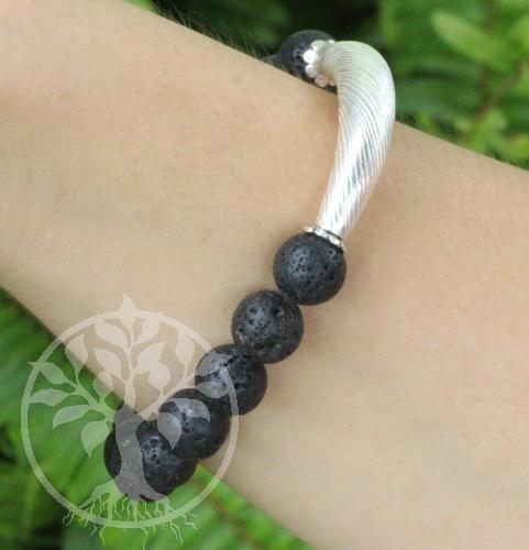 Lava Armband Black mit Silber Perlen 925 10mm 19cm