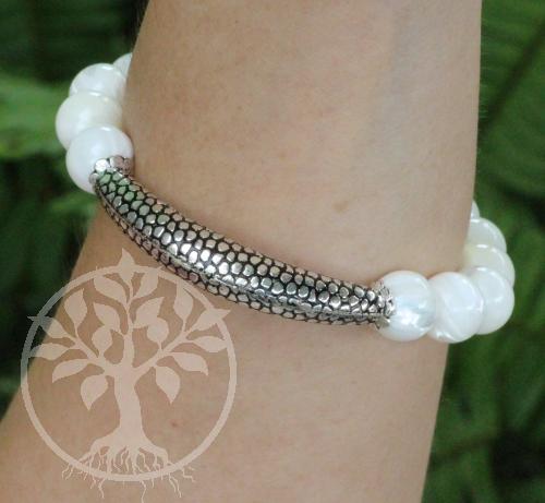 Armband aus Muscheln mit Echt Sterlingsilber 925 Element 10mm! große Perlen 19cm