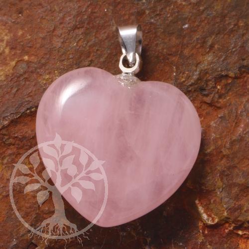 ca. 25mm Herz Rosa Quarz Edelstein Schlüssel Anhänger Herzchen