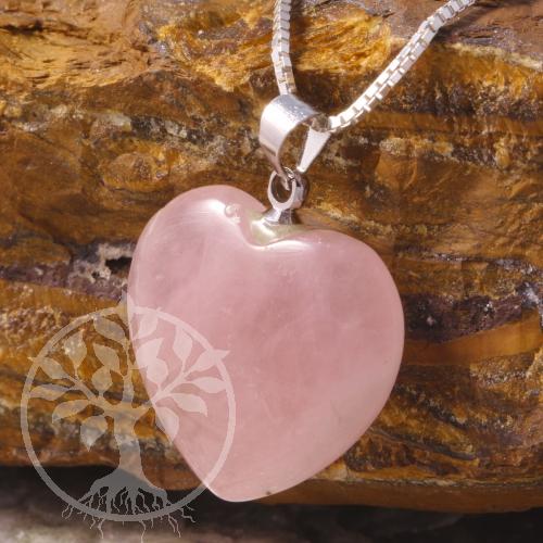 Rosenquarz Herz Anhänger mit Öse 20mm