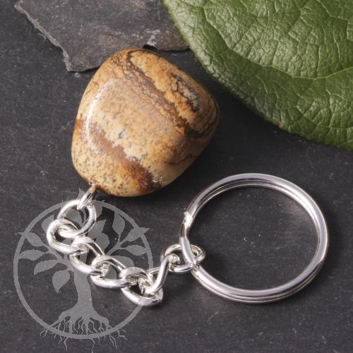 Landschaftsjaspis Schlüsselanhänger Edelstein mit Schlüsselring