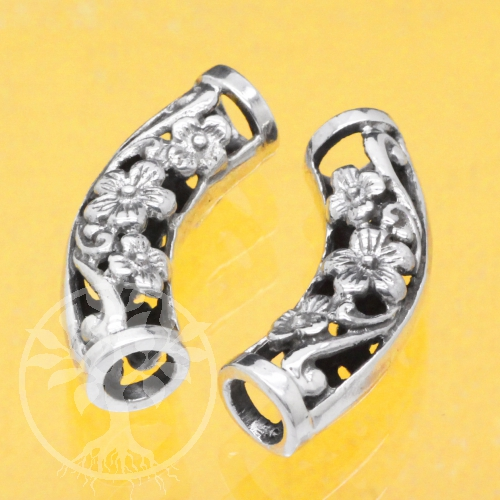 Silver Tube Curved Bead Sterlingsilver 925 7x23mm