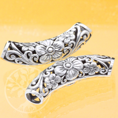 Silberperle 925 Armbandperle Silber big Flower 11x43mm