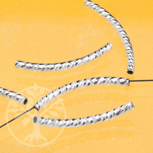 Silberperle gebogen Röhrchen Blitzi 925er Silber 30x2mm