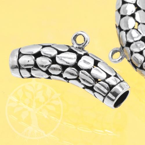 Oxidierte Silberperle 925 Schlangenhaut gebogen mit Öse 25x7mm