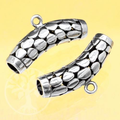 Silver Tube Bead Sterlingsilver 925 Snakeskin curved 25x7mm