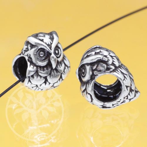 Eule Silber 925 Großlochperle 9x8mm