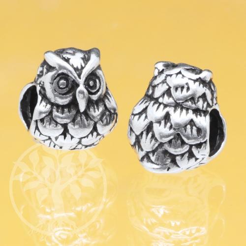 Eule Silber 925 Perle 9x8mm Großloch