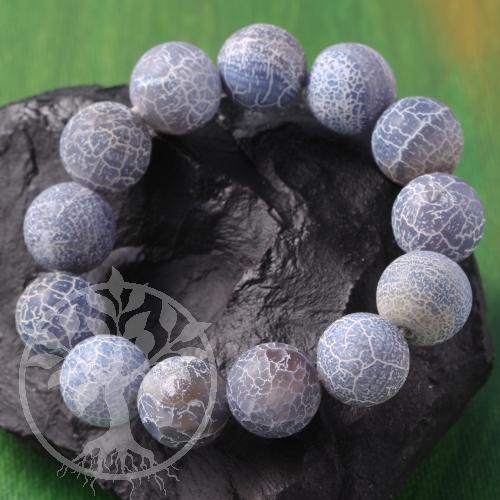 Achat Kugelarmband blauer/graue-schwarzer Achat 16mm Große Achat Perlen crack