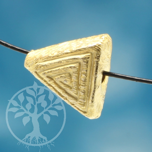 Triangle Spiral Beads Gold Brushed Sterling Silver 925 4x7mm