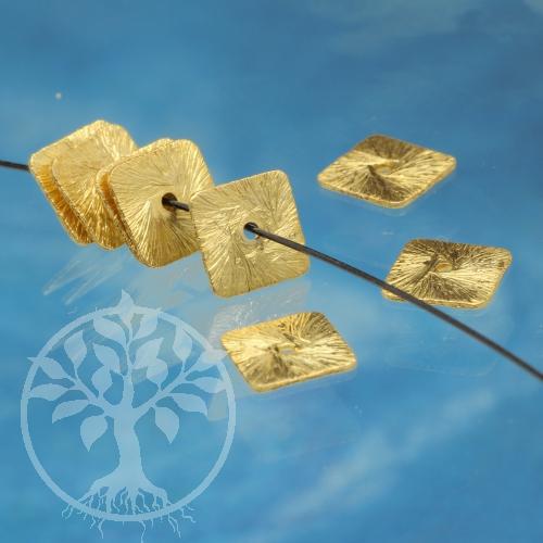 Silberperle vergoldet Square Gold Sterlingsilber 925 Scheibe 6,5mm