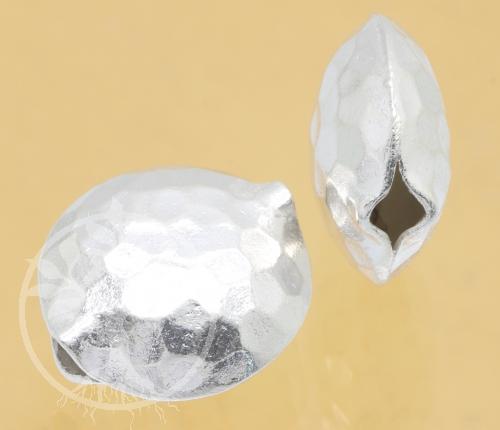 Schmuck Perle Diskus gehämmert Silber 925 15x14mm