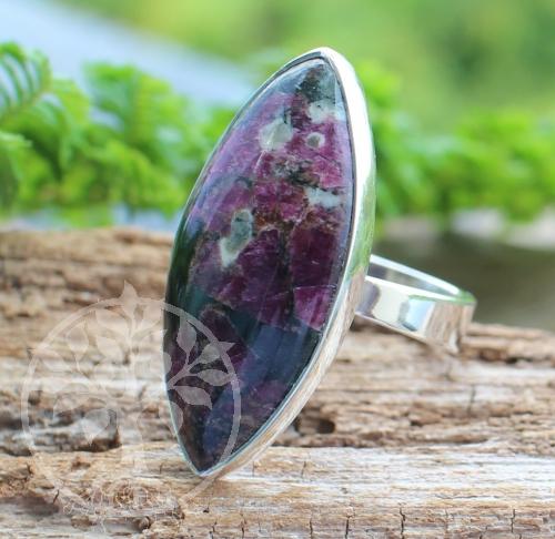 Eudialyt Edelstein Silber Ring 925 Auge 25x33 mm Größe 59